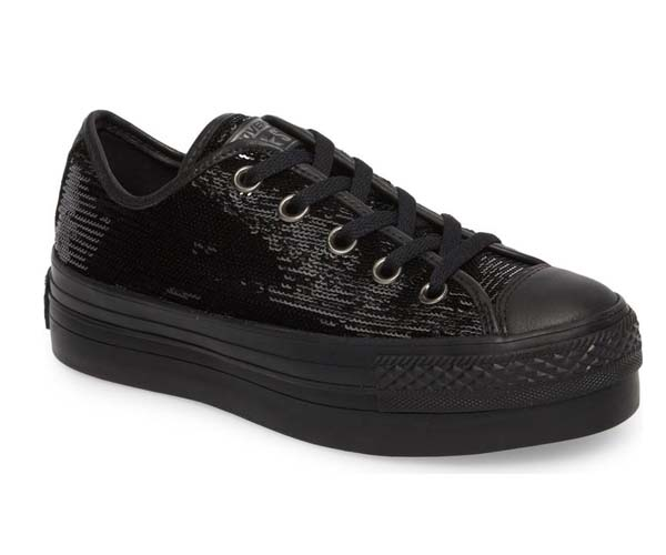 converse black glitter platforms