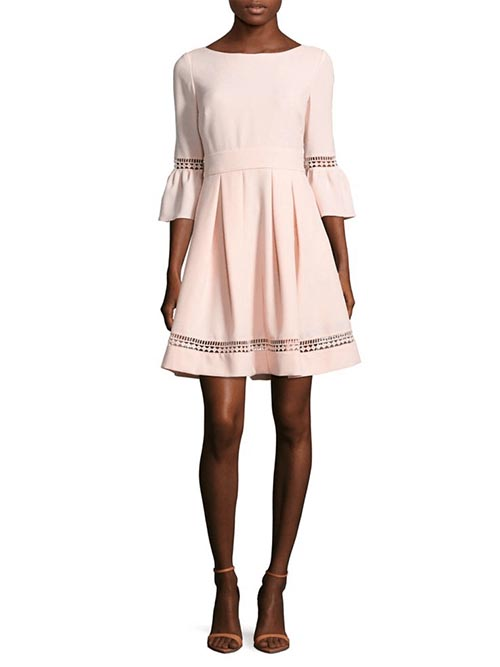 eliza j bell sleeve crochet fit flare dress