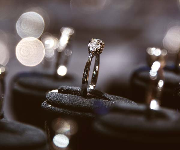 engagement rings on display