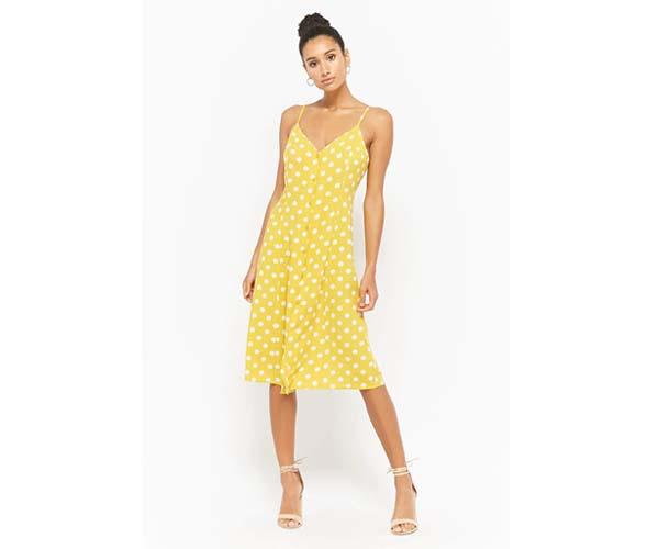 forever 21 yellow polka dot spring dress