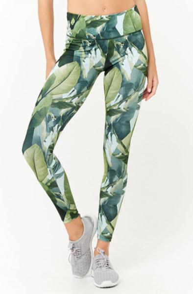 forever 21 active palm leaf print leggings