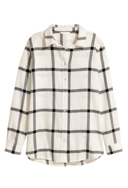 hm checked cotton button down shirt
