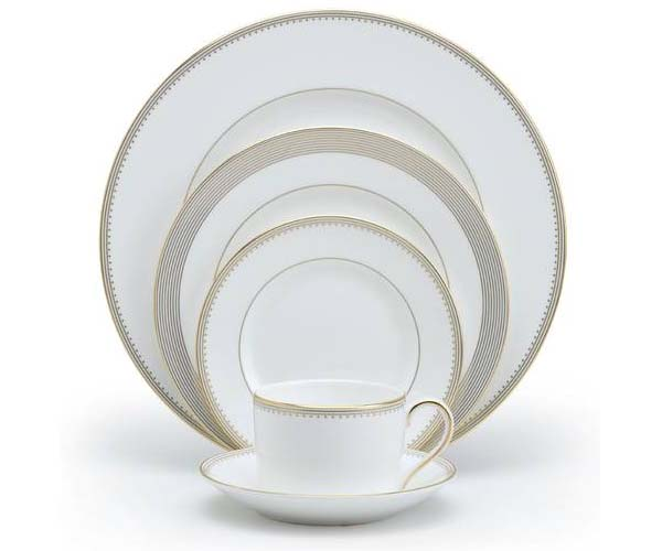 white and gold matching dish set