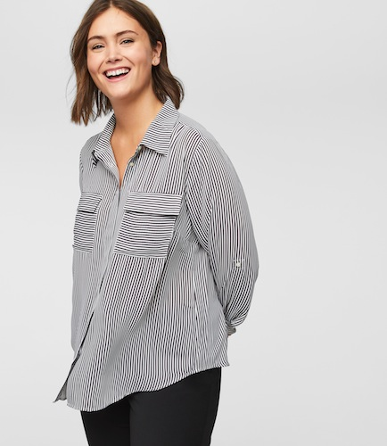 LOFT Plus Striped Utility Blouse