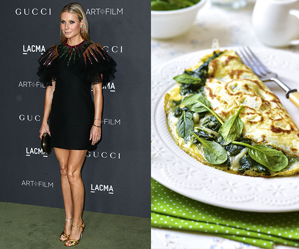 gwyneth paltrow with eggs and veggies on a plate