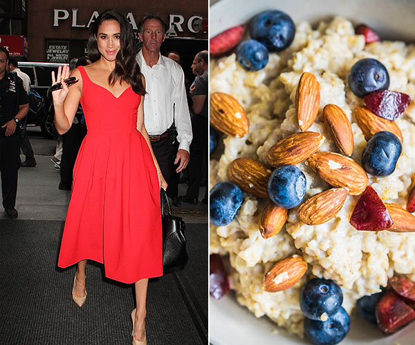 meghan markle and oatmeal with blueberries and almonds