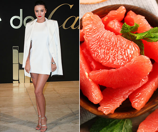 miranda kerr with grapefruit slices in a bowl