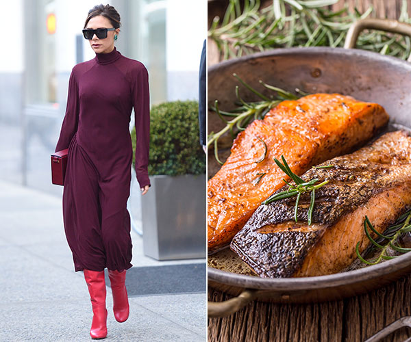 victoria beckham with salmon on a plate