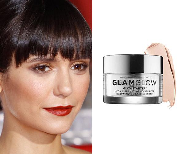 nina dobrev with glamglow moisturizer