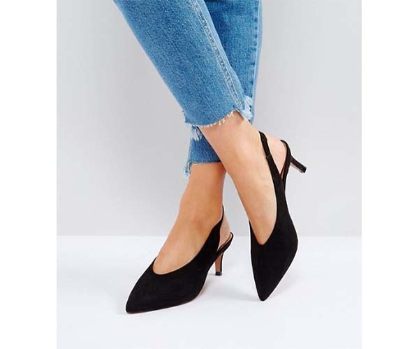 asos swift slingback kitten heels black