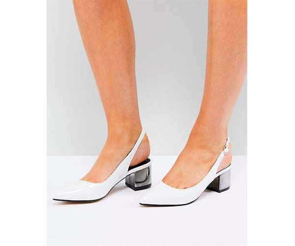white slingback kitten heel shoe