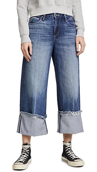 tortoise canni slouchy crop wide leg jeans