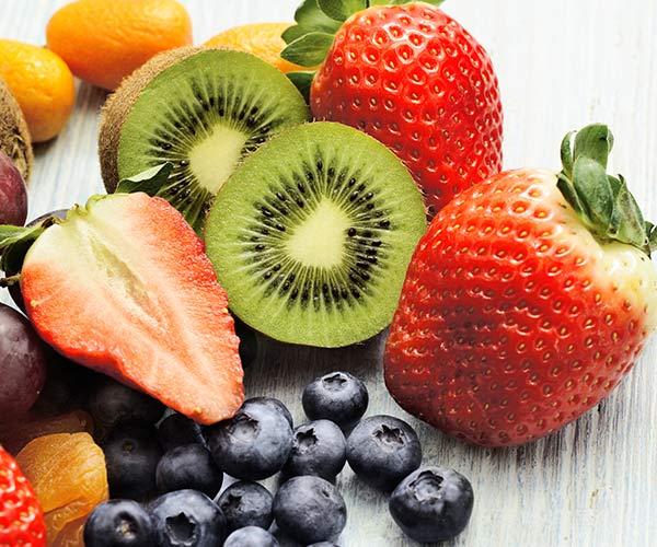 assorted strawberry, kiwi, blueberry
