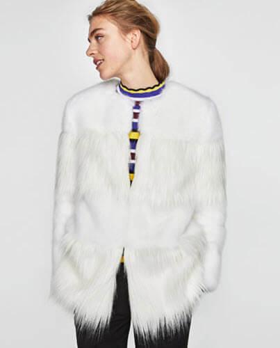zara combined faux fur coat