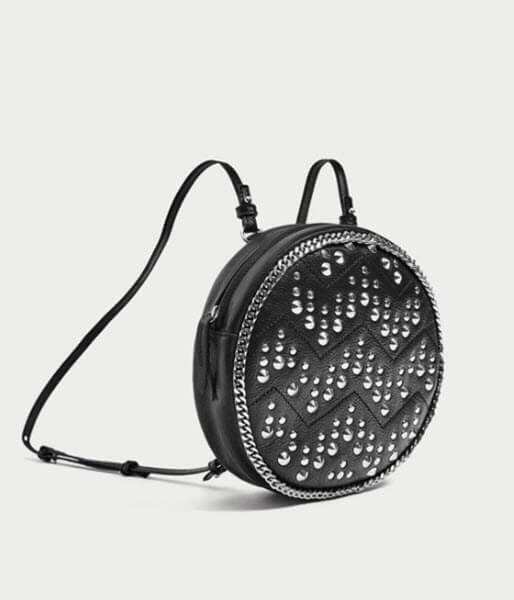 zara leather studded backpack