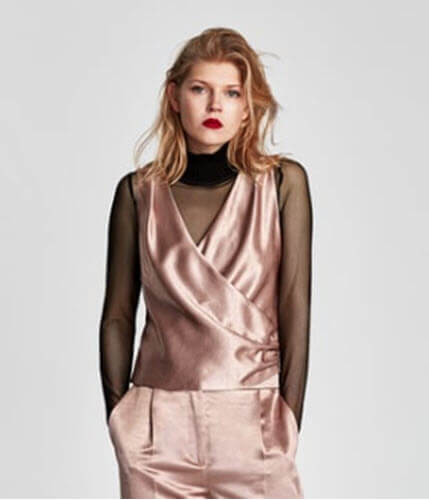 zara satin top draped detail