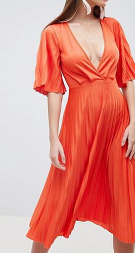 Pleated Kimono Sleeve Midi Dress