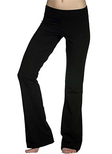 Hollywood Star Fashion Foldover Contrast Waist Bootleg Flare Yoga Pants