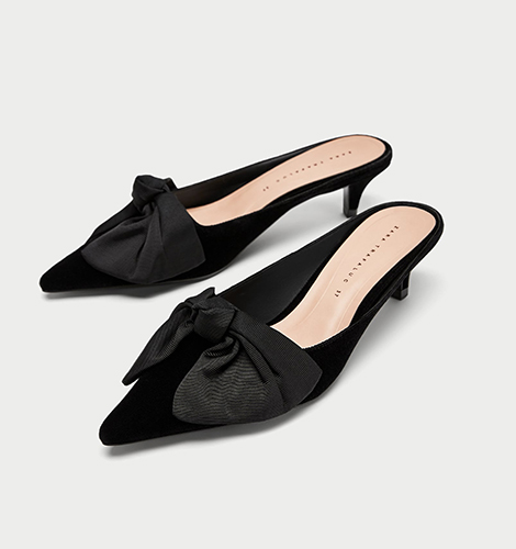 Kitten Heel Mules With Bow