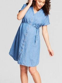 Maternity Denim Dolman Shirt Dress