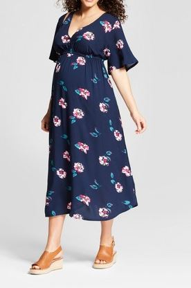 Maternity Woven Floral Wrap Dress