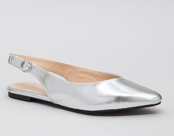 Slingback In Circulation Metallic Flats