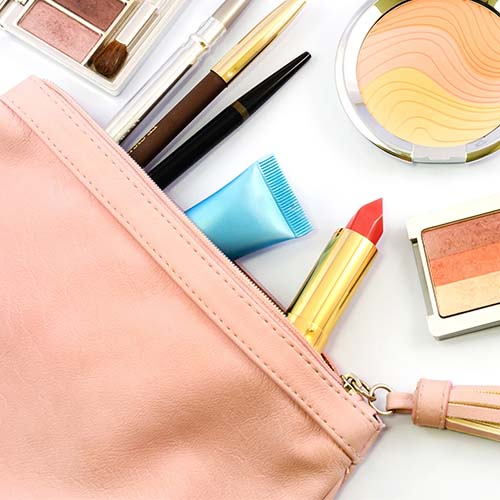 overflowing makeup bag