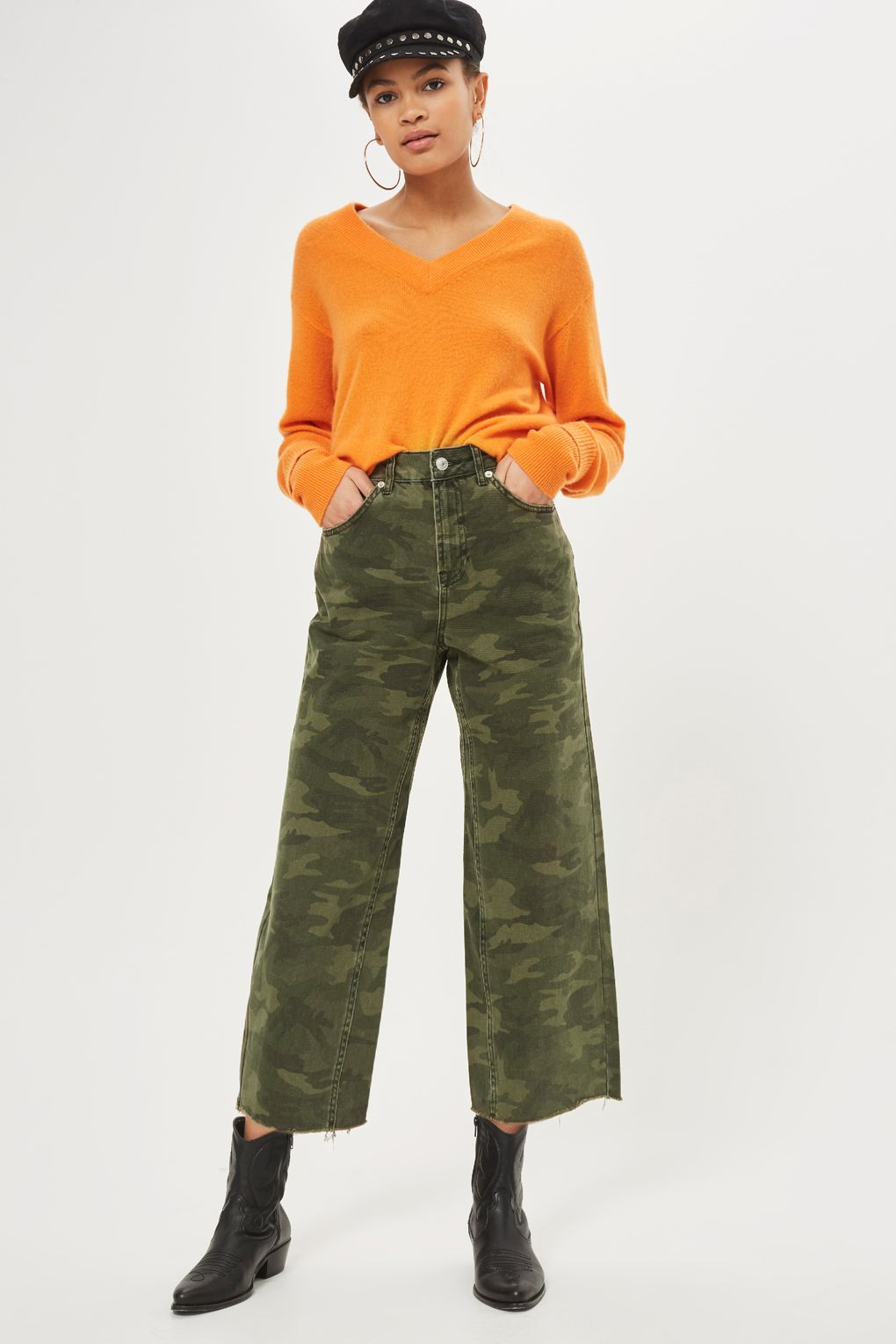 Topshop camo cropped jeans