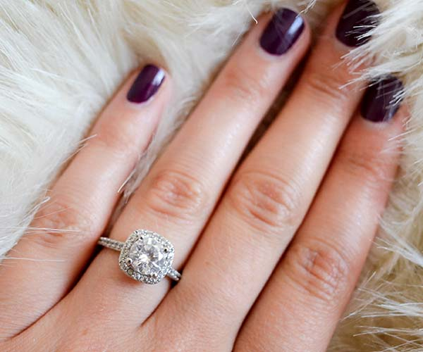 woman wearing an engagement ring