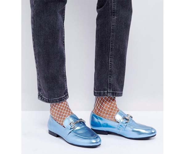 new look metallic blue loafers
