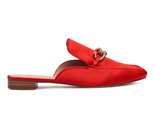 h&m red slip on loafers