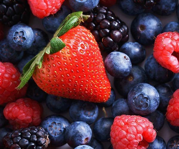 assorted blueberries, raspberries, strawberries