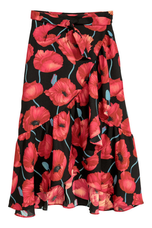h&m red and black floral wrapover skirt