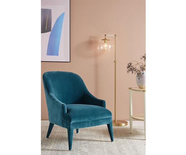 anthropologie blue arm chair