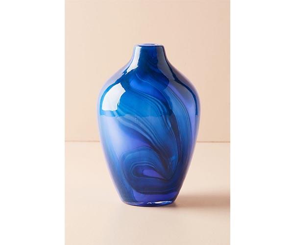 anthropologie blue swirled vase