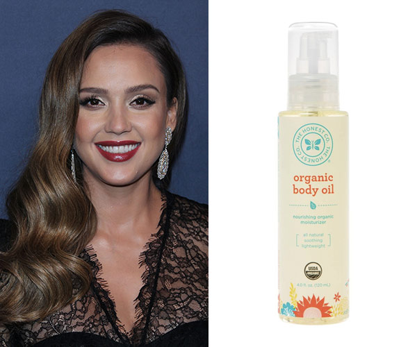 jessica alba with honest organic body oil