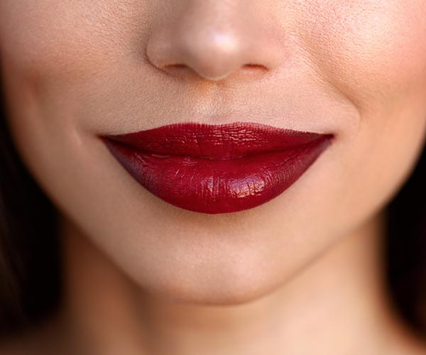 woman with red ombre lipstick