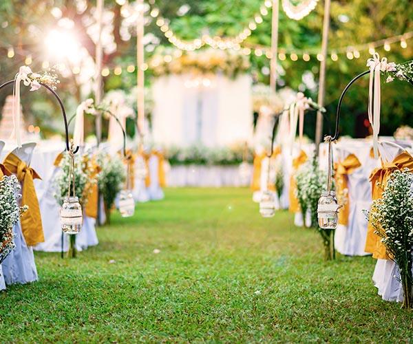 outdoor wedding in a garden venue