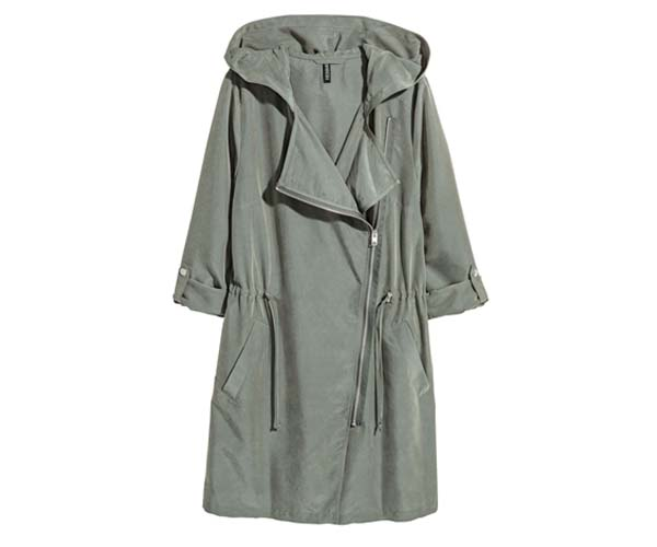 h&m green hooded parka