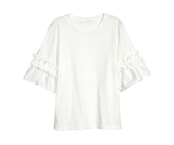 h&m white top with ruffled sleeves