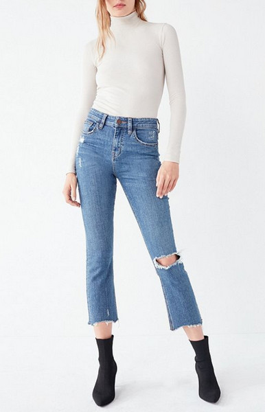 spring jeans wide leg cropped