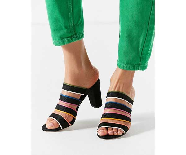 multicolored strappy heeled sandals