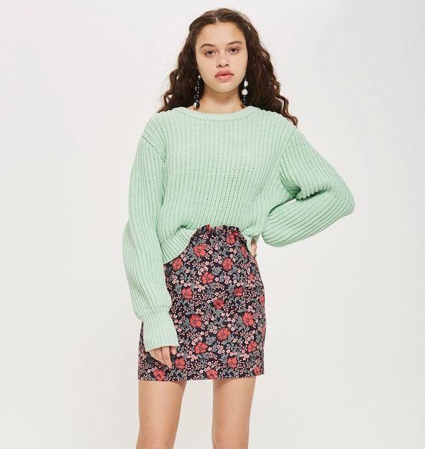 topshop floral jaquard skirt