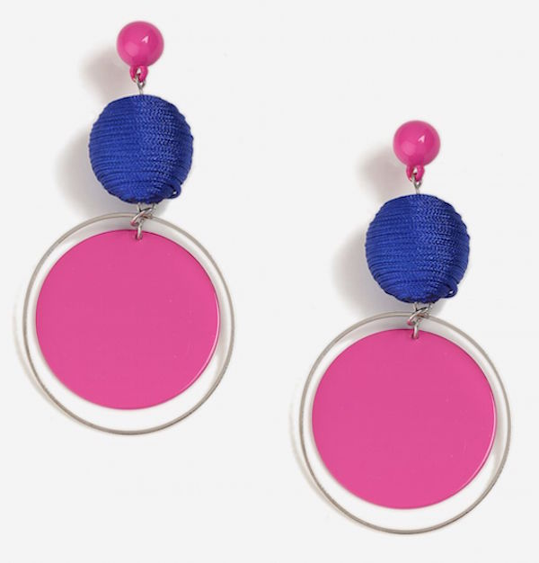 topshop earrings blue and pink