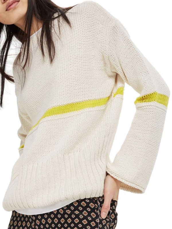 topshop beige sweater with green stripe