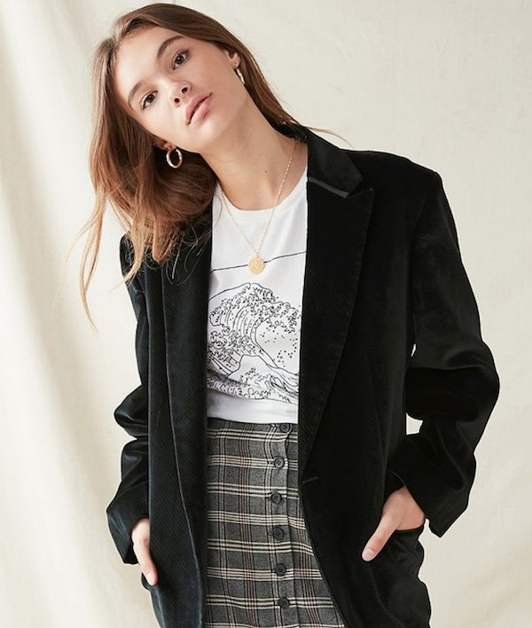 urban outfitters black oversized blazer
