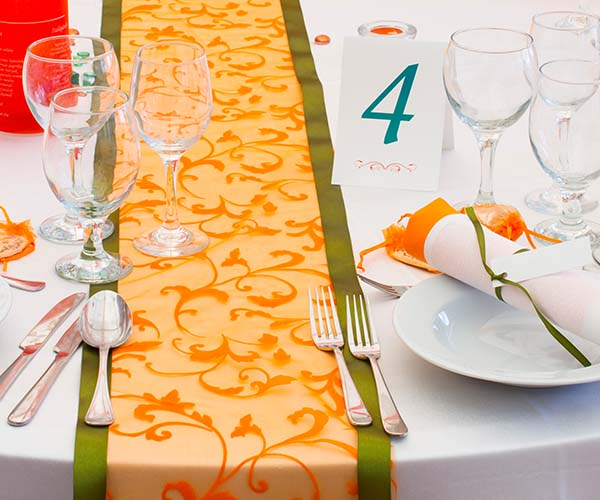 green and yellow table runner