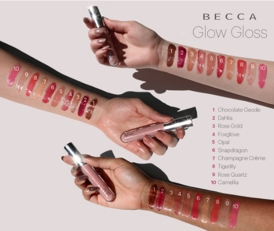 becca cosmetics glow gloss swatches