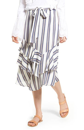 Know One Cares Tiered Midi Skirt