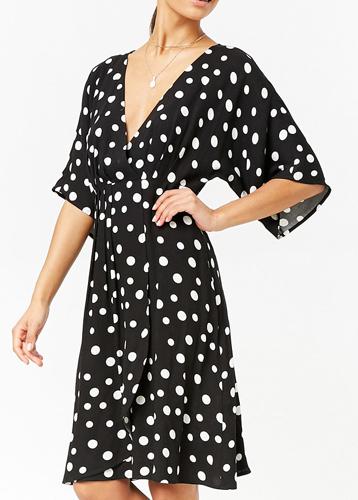 Polka Dot Surplice Dress